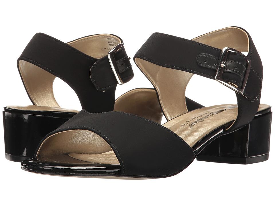 Walking Cradles Macau (Black Micro/Black Patent Heel) 1-2 inch heel Shoes