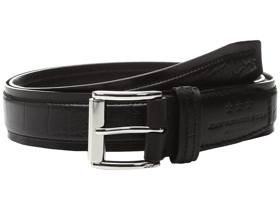 John Varvatos Genuine Leather Croco Belt (Black) Men