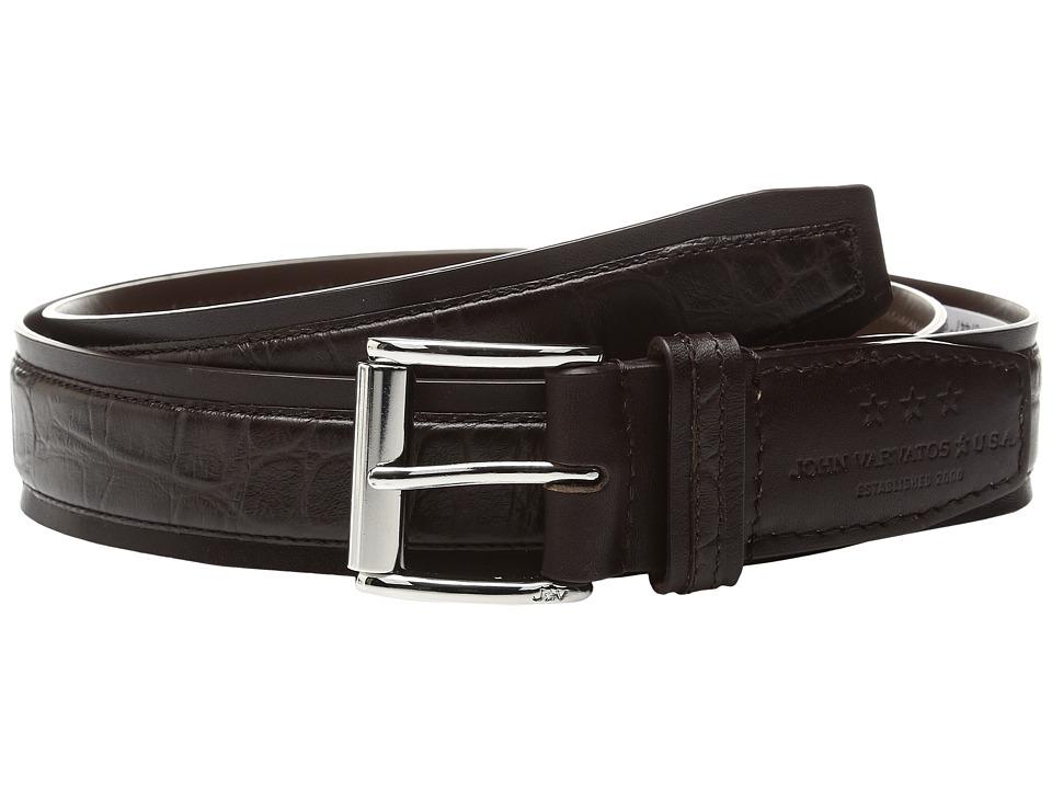 John Varvatos Genuine Leather Croco Belt (Chocolate) Men