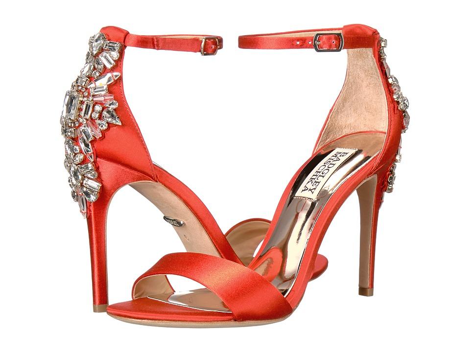Badgley Mischka Bartley (Coral Red Satin) High Heels