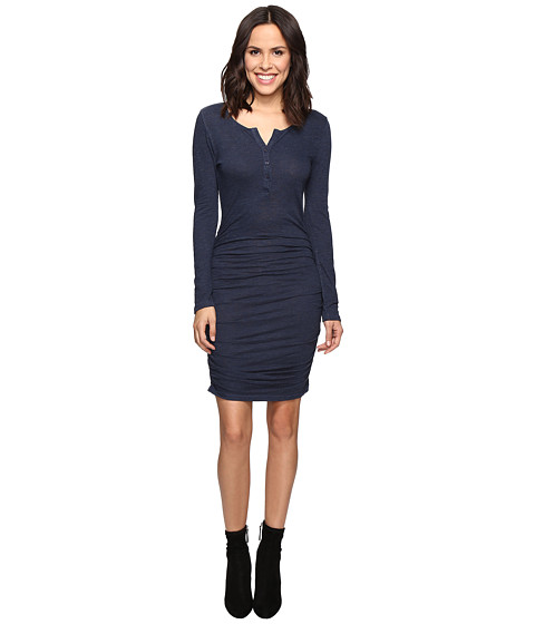 Lanston Ruched Henley Dress - Navy