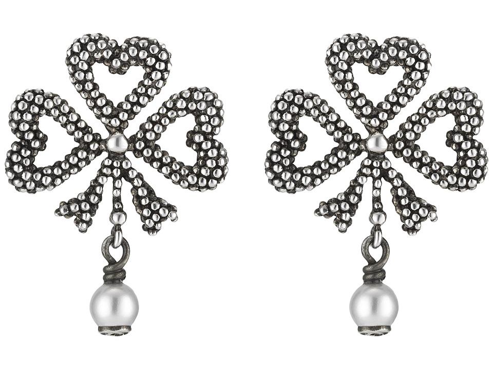 Gucci Steel Cut Earrings (Silver/Black) Earring