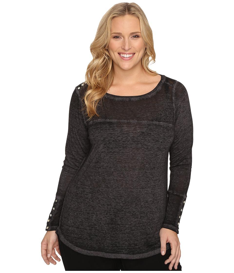 Jag Jeans Plus Size Plus Size Meghan Burnout Jersey Tee (Black) Women