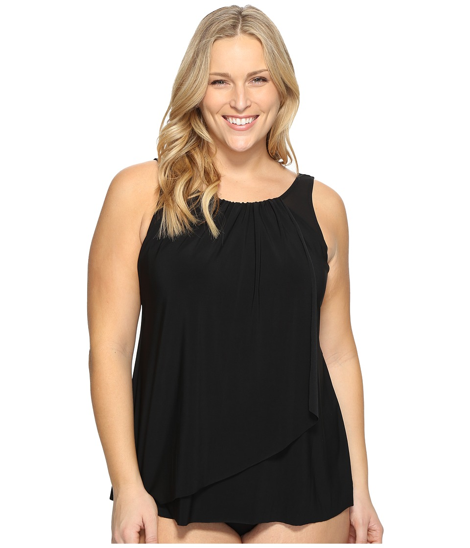 Miraclesuit Plus Size Solid Mariella Tankini Top (Black) Women