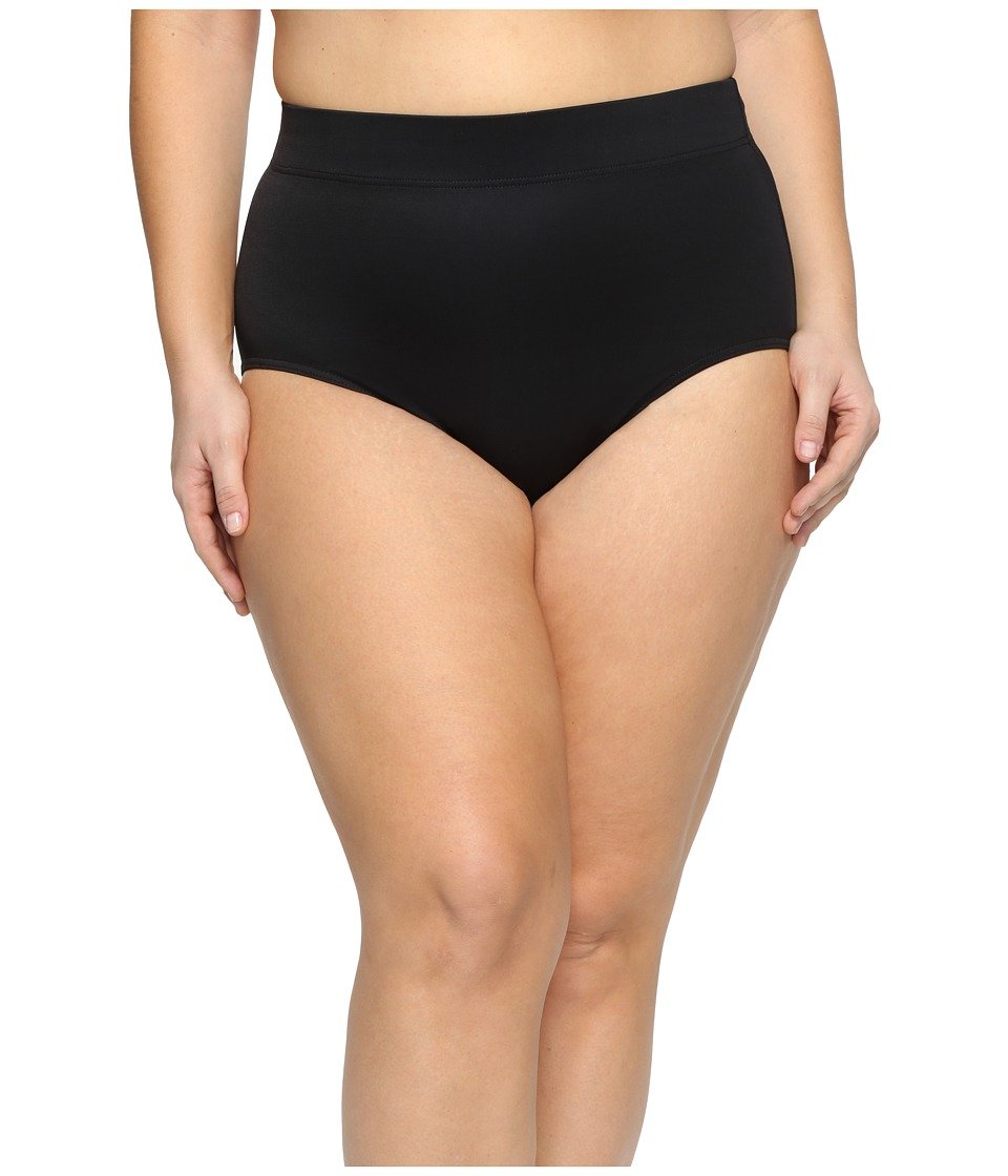 Miraclesuit Plus Size Solid Basic Brief Bottom (Black) Women