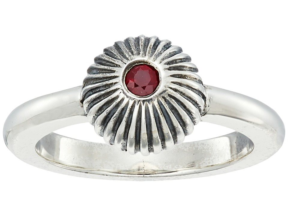 King Baby Ribbed Sphere Ring w/ Ruby (Silver/Ruby) Ring