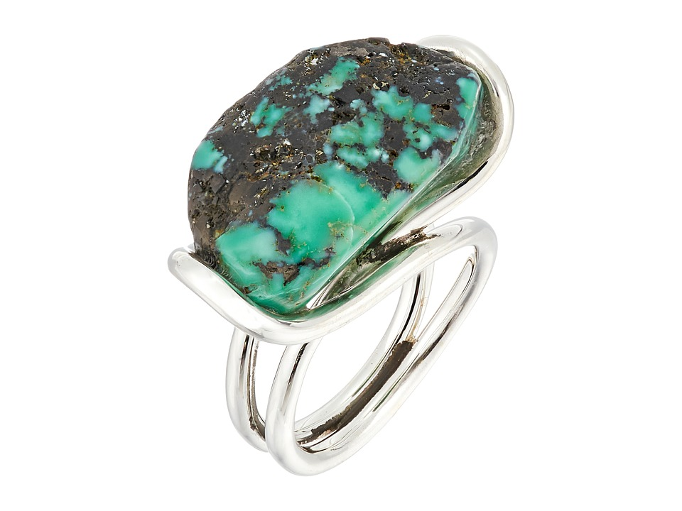 King Baby Studio - Wire Ring w/ a Natural Turquoise Stone (Silver/Turquoise) Ring
