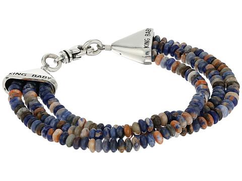 King Baby Studio Triple Strand Orange Sodalite Bead Bracelet w/ Cone Clasp - Silver/Turquoise