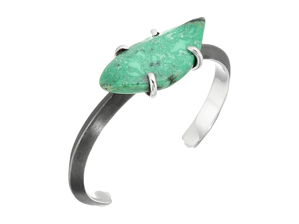 King Baby Wire Cuff w/ Natural Turquoise Bracelet (Silver...