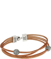 King Baby Studio - Multi Strand Brown Leather Cord Bracelet w/ Hook Clasp and Stingray Beads