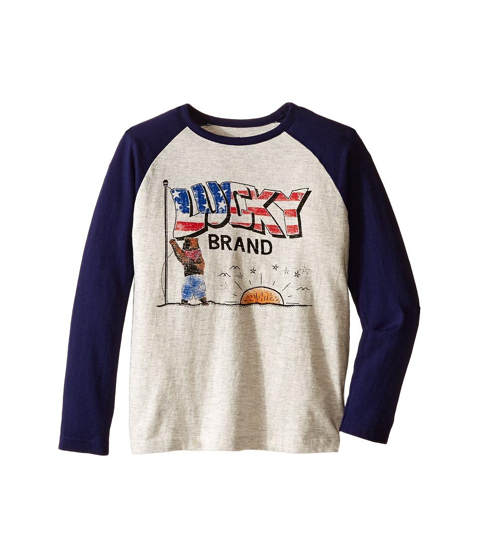 Lucky Brand Kids Long Sleeve Raglan Tee with Lucky Bear and Flag Screen Print (Little Kids/Big Kids) (Turtle Heather) Boy