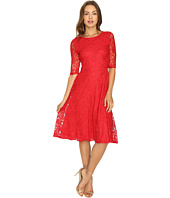 Sangria - 3/4 Sleeve Textured Lace Fit and Flare Dress