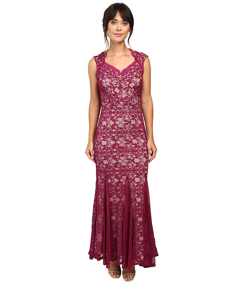 Sangria Cap Sleeve All Over Lavc Gown Dress