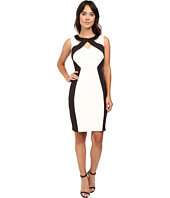 Sangria - Haltered Keyhole Neckline Color Block Sheath Dress