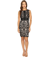 Sangria - Sleeveless Textured Lace Sheath Dress