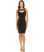 Sangria - Haltered Keyhole Neckline Embellished Sheath Dress