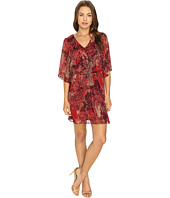 Sangria - Patterned Chiffon Peasant Dress