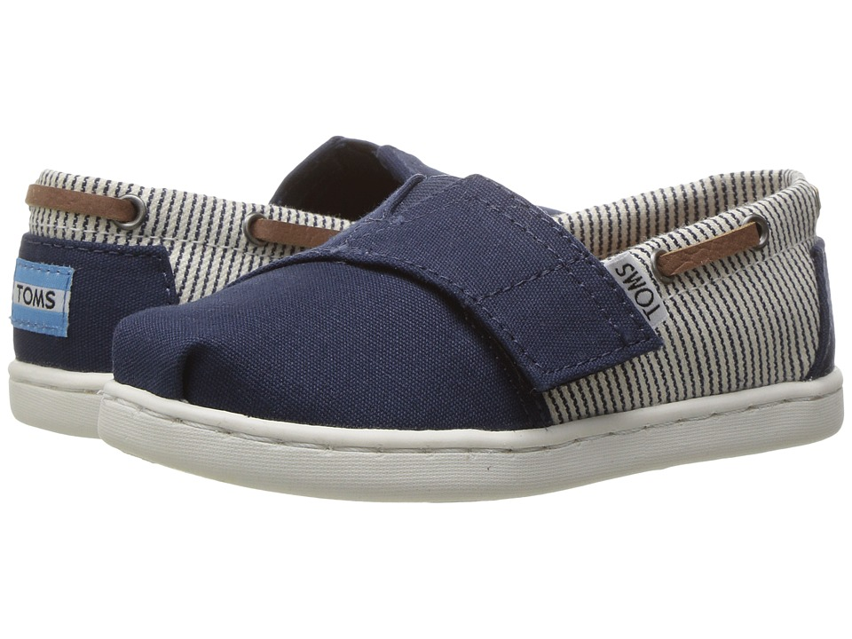 TOMS Kids - Bimini (Infant/Toddler/Little Kid) (Navy Canvas/Stripes) Kids Shoes