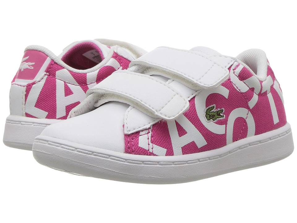 Lacoste Kids - Carnaby Evo 117 1 SP17 (Toddler/Little Kid) (Pink/White) Girls Shoes