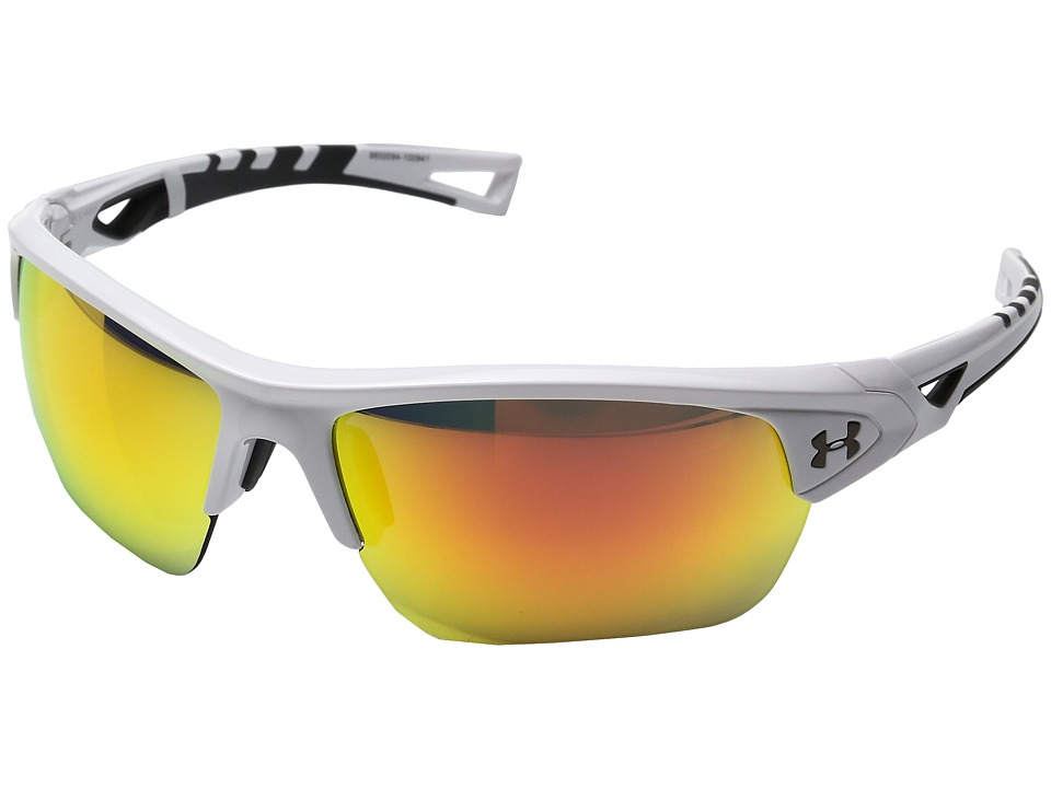 Under Armour - Octane (Shiny White/Charcoal Frame/Gray/Orange Multiflection Lens) Athletic Performance Sport Sunglasses
