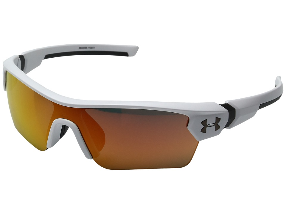 Under Armour - Menace (Little Kid/Big Kid) (Satin White/Charcoal Frame/Gray/Orange Multiflection Lens) Athletic Performance Sport Sunglasses