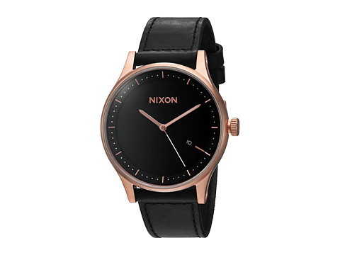Nixon The Station Leather - Rose Gold/Black