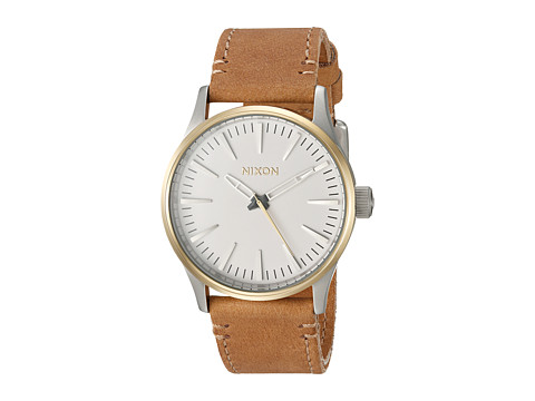 Nixon The Sentry 38 Leather X The Speedster II Collection - Gold/Cream/Tan