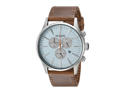 Nixon The Sentry Chrono Leather X The Speedster I Collection - Sky Blue/Taupe