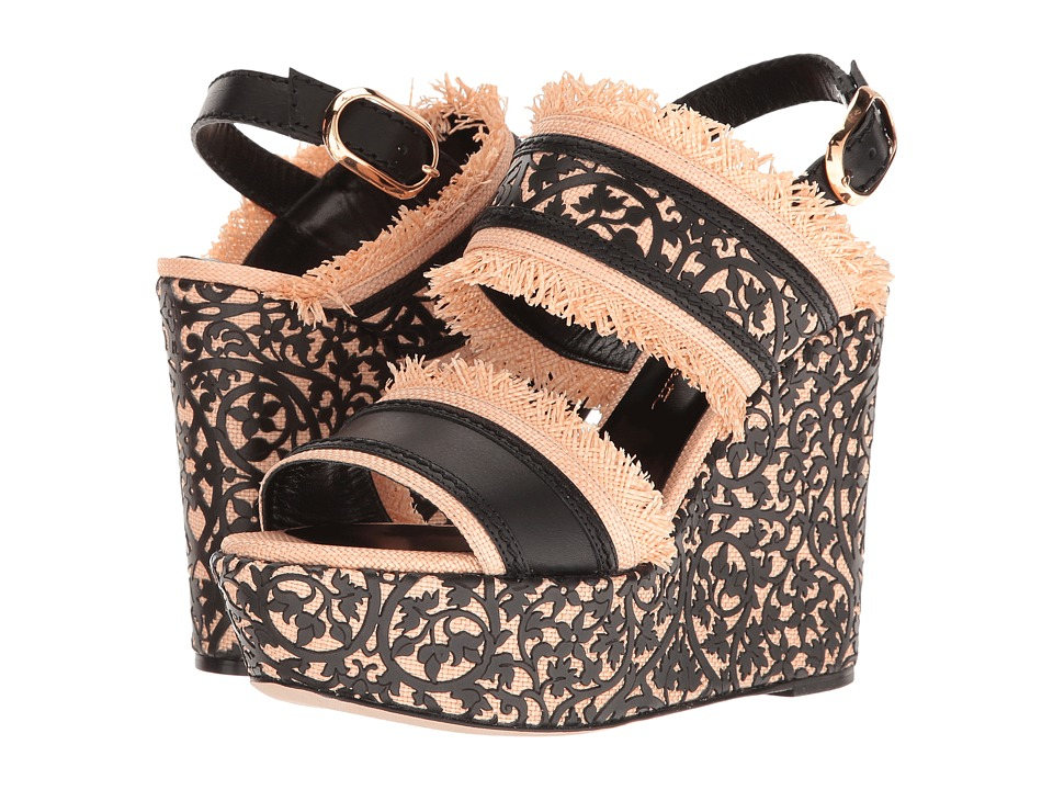 Oscar de la Renta Talitha 75MM (Black Lasercut Leather/Beige Raffia) Women