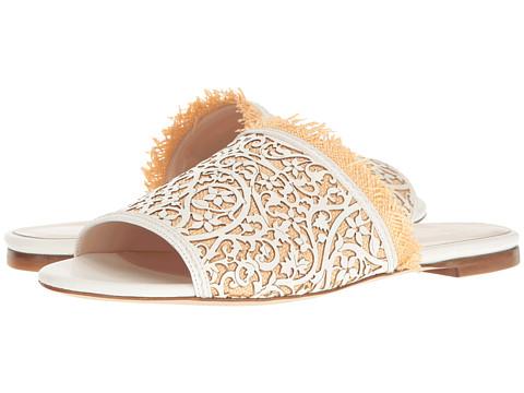 Oscar de la Renta Charli - White Lasercut Leather/Beige Raffia