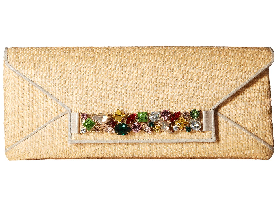 Oscar de la Renta Envelope Clutch (Natural Raffia) Clutch Handbags