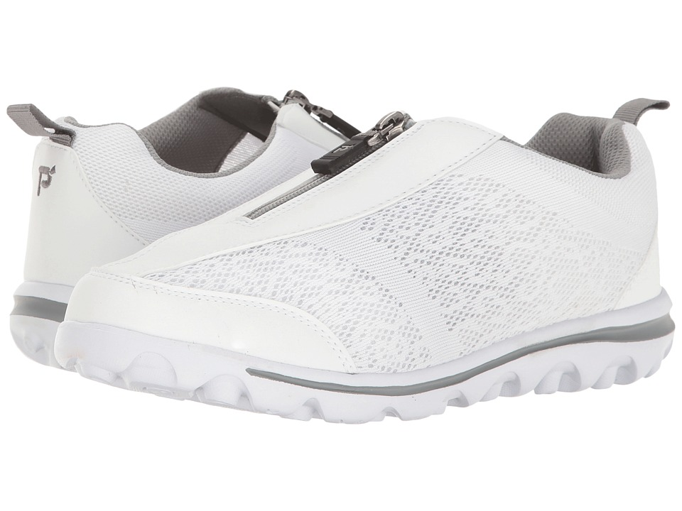 Propet TravelActiv Zip (White/Silver) Women's Shoes