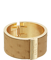 GUESS - Wide Hinge Faux Ostrich Logo Bangle