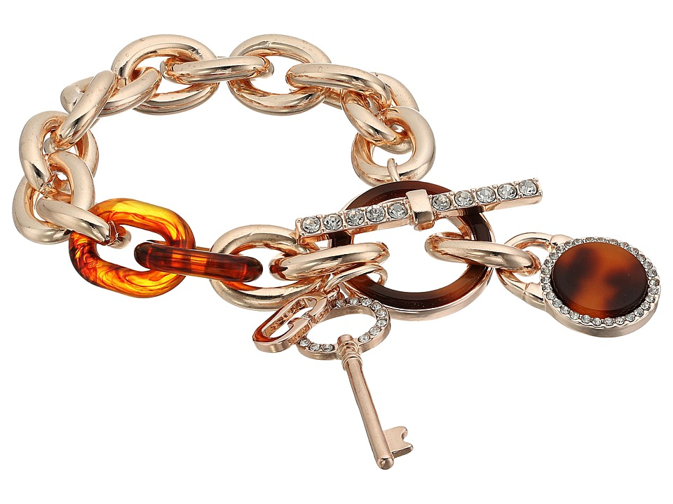 GUESS - Logo Key and Faux Tortoise Charm Toggle Bracelet (Rose Gold/Red Tortoise) Bracelet
