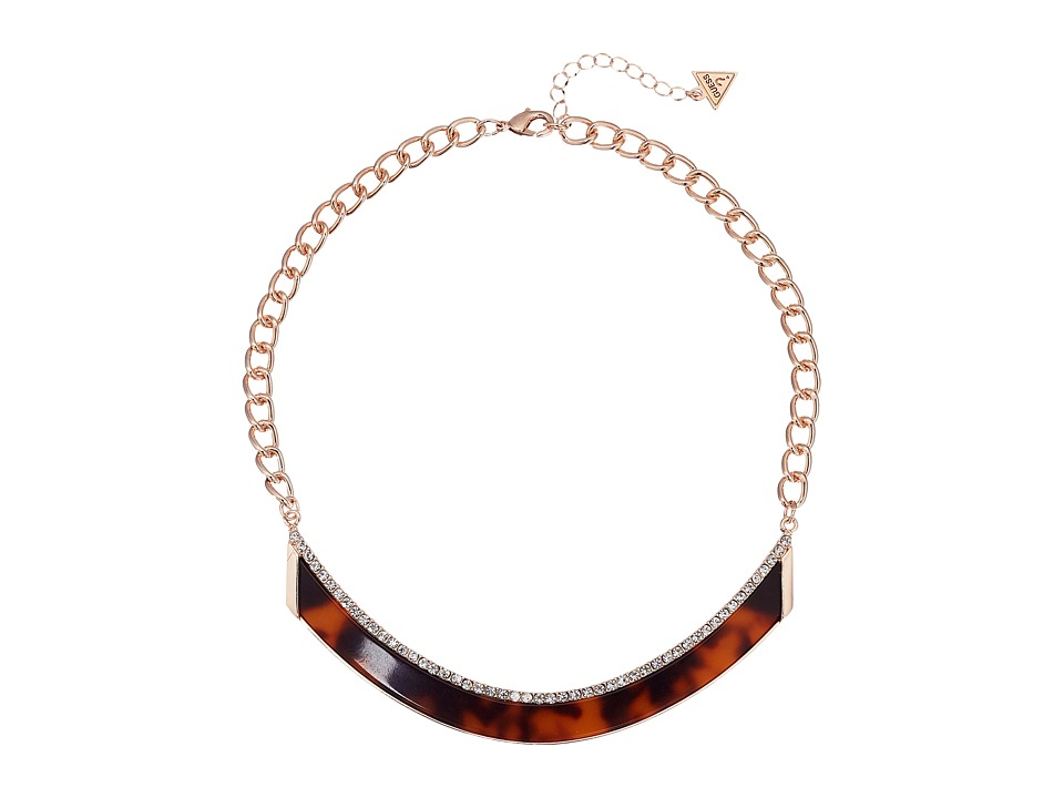 GUESS - Bent Bar Short Necklace with Faux Tortoise (Rose Gold/Red Tortoise) Necklace