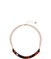 GUESS - Bent Bar Short Necklace with Faux Tortoise