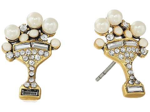 Marc Jacobs Charms Tropical Martini Studs Earrings - Cream/Antique Gold