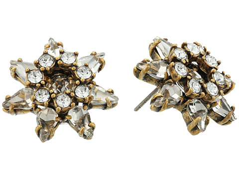 Marc Jacobs Charms Tropical Pointy Strass Flower Studs Earrings - Crystal/Antique Gold