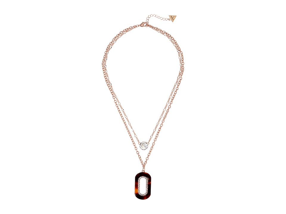 GUESS - Duo Chain Layered Necklace with Crystal and Faux Tortoise Accents (Rose Gold/Red Tortoise) Necklace