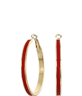 GUESS - Clutchless Hoop with Faux Ostrich Earrings