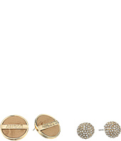 GUESS - Fireball and Logo Button with Faux Ostrich Stud Earrings Set