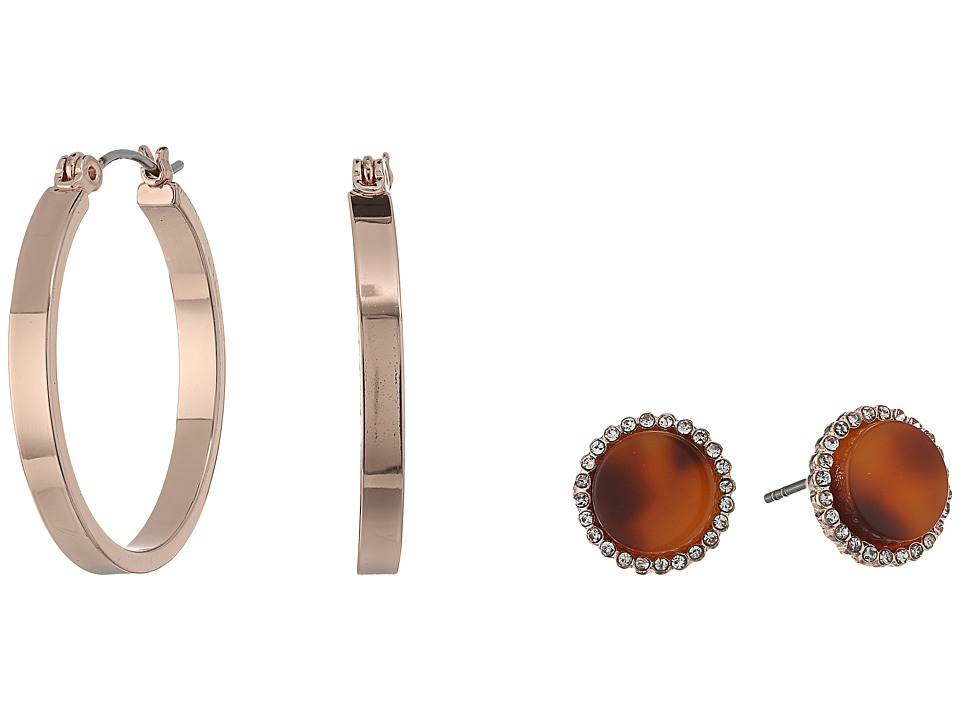 GUESS - Mini Hoop and Faux Tortoise Stud Duo Earrings Set (Rose Gold/Red Tortoise) Jewelry Sets