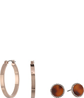 GUESS - Mini Hoop and Faux Tortoise Stud Duo Earrings Set