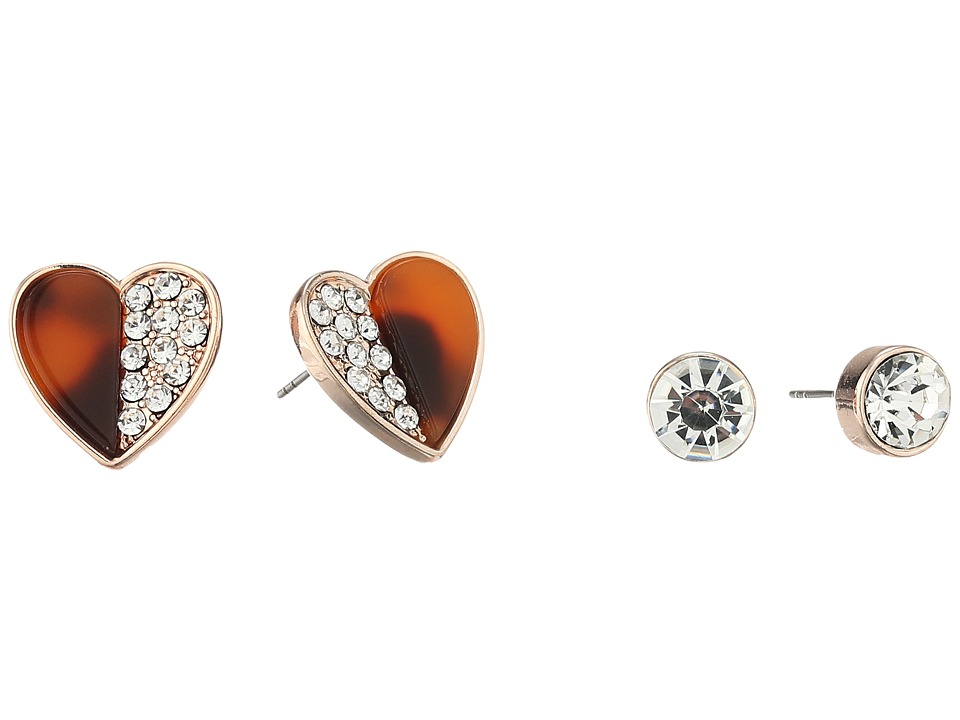GUESS - Crsytal Stud and 1/2 Faux Tortoise 1/2 Crystal Heart Button Earrings Set (Rose Gold/Red Tortoise) Earring