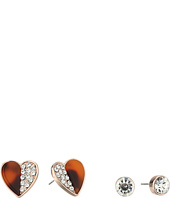 GUESS - Crsytal Stud and 1/2 Faux Tortoise 1/2 Crystal Heart Button Earrings Set