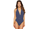 Emporio Armani - Seaworld Deep V Stripe One-Piece Knit Swimsuit