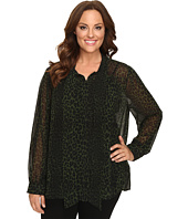 MICHAEL Michael Kors - Plus Size Panther Tie Button Down Top