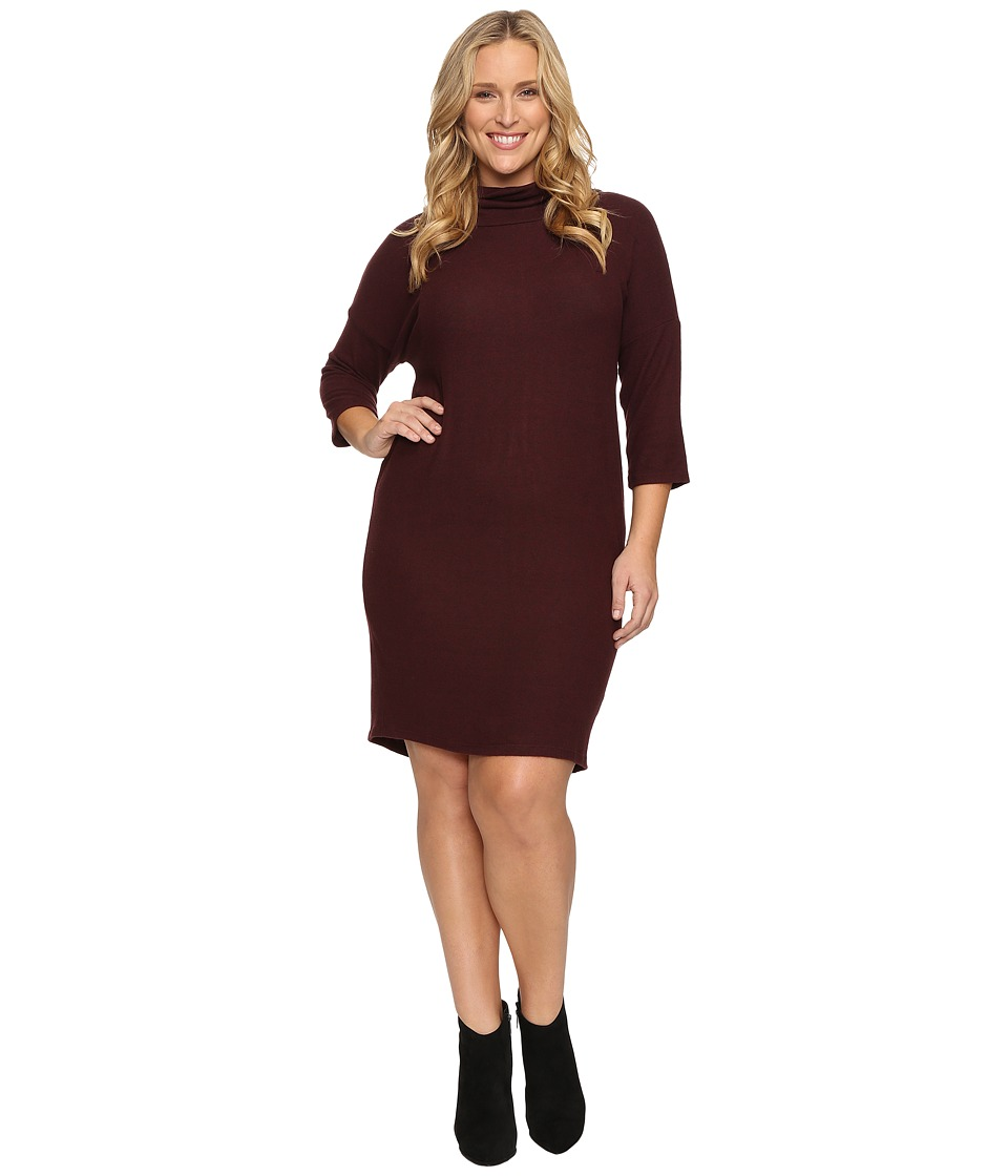Image of B Collection by Bobeau Curvy - Plus Size Cozy Dress (Burgundy) Women's Dress