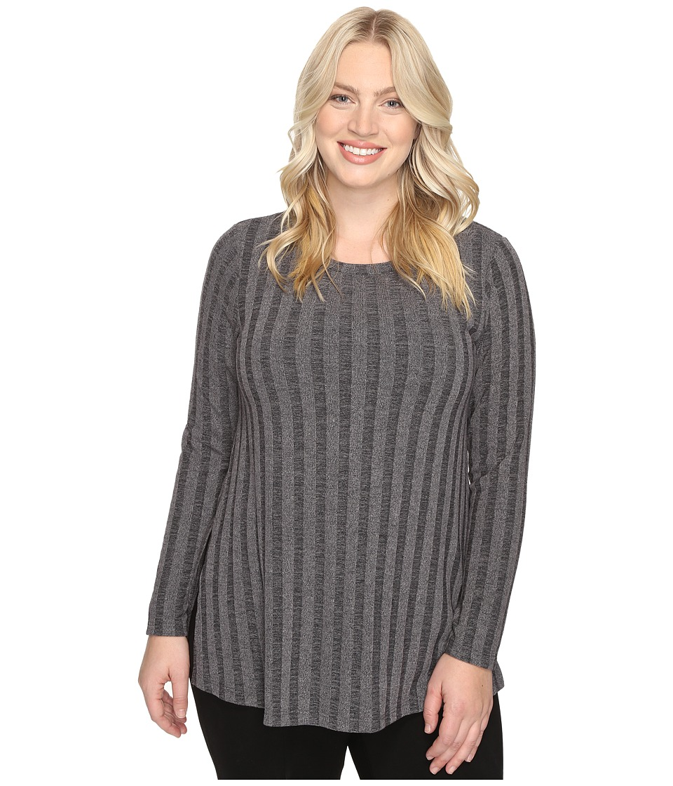 Image of B Collection by Bobeau Curvy - Plus Size Alexa Rib Knit Tee (Charcoal Grey) Women's T Shirt