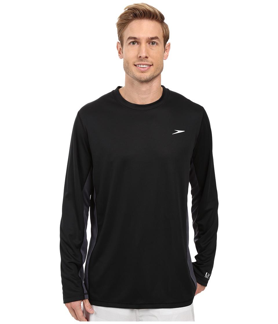 Speedo Longview Long Sleeve Swim Tee (Black/Black) Men